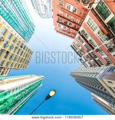 Abstract Futuristic Cityscape View. Hong Kong