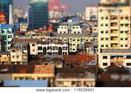 Aerial View Of Yangon City. Myanmar (burma)