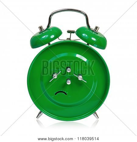 Big green alarm clock - back, isolated on white