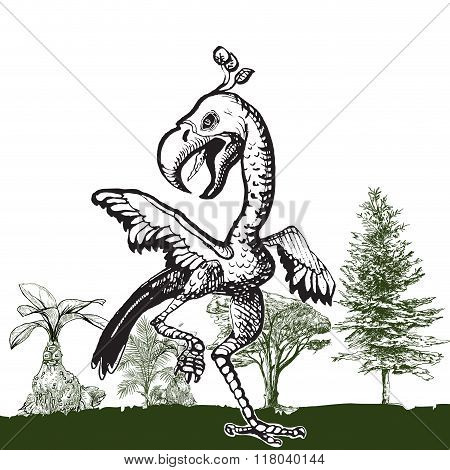 Dancing Dino Bird - An Hand Drawn Vector
