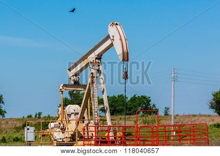 Oil Well Pumpjack In Texas Or Oklahoma.