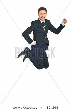Cheerful Business Man Jumping