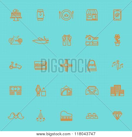 Birthday Gift Orange Color Line Icons