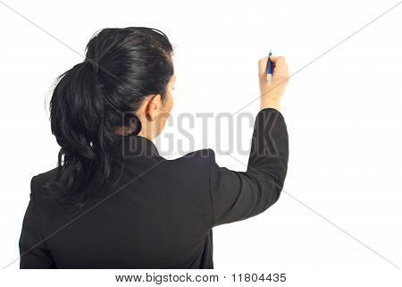 Rear View Of Businesswoman Writing On Copy