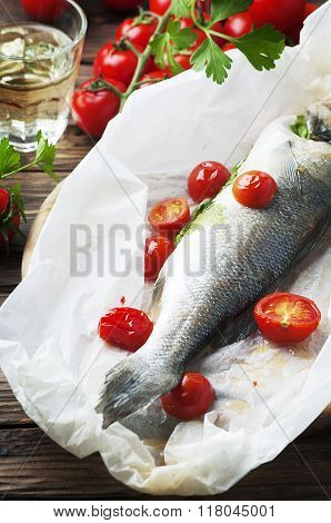 Cooked Seabass With Tomato And Parsley