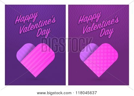 Vector illustration of greeting cards with cute hearts for St. Valentines Day, eps10