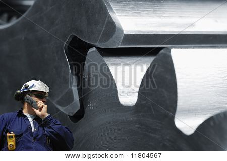 steel worker and machinery