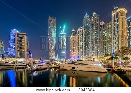 Dubai - JANUARY 10, 2015: Marina district on January 10 in UAE,