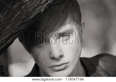 happy young man on nature. Portrait