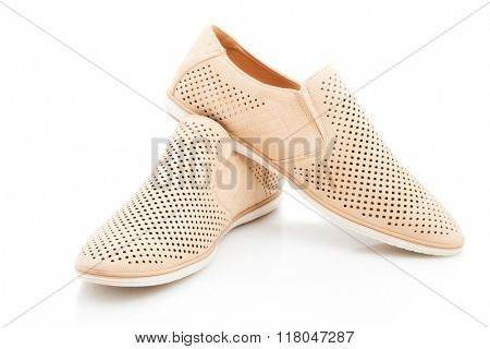 Mens beige, elegant shoes, nubuck on a white background