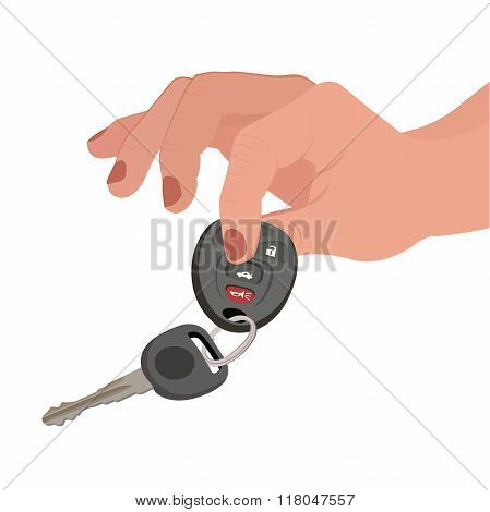 Hand holding car key and remote entry fob isolated on white background