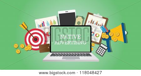 native advertising concept with marketing media illustrated in laptop