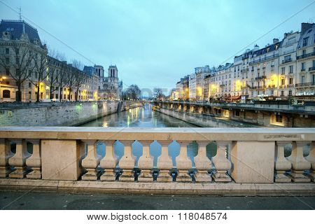 Paris, France, February 9, 2016: river Sena at night in Paris, France,