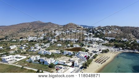 Aerial View Of The Beaches Of Greek Island Of Ios Island, Cyclades, Greece. Ios Is Well Known As The