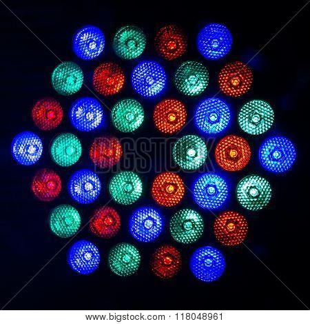 led rainbow lighting bulb pattern for background