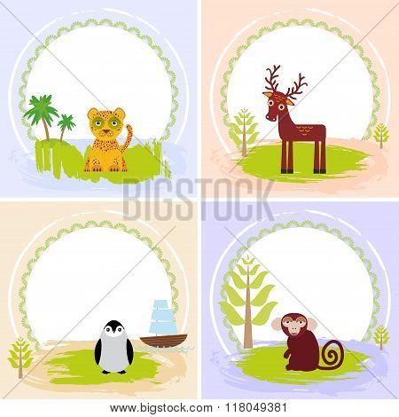 deer, bird penguin, jaguar, leopard,, set of cards design  with funny animals, template banner for y