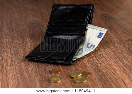Black Leather Wallet With Five Euro And Euro Cents. Concept: Poverty