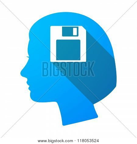 Long Shadow Female Head With A Floppy Disk