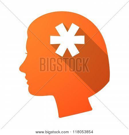Long Shadow Female Head With An Asterisk
