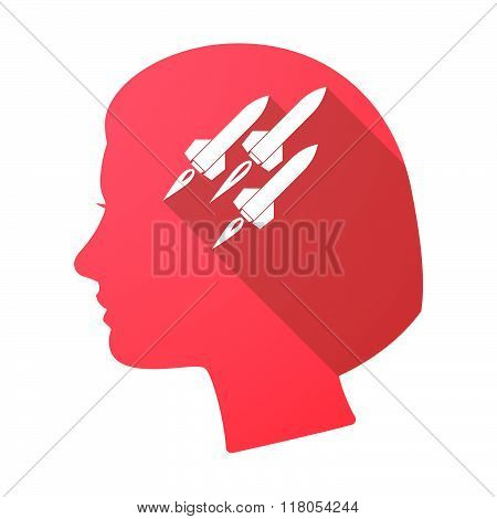 Long Shadow Female Head With Missiles