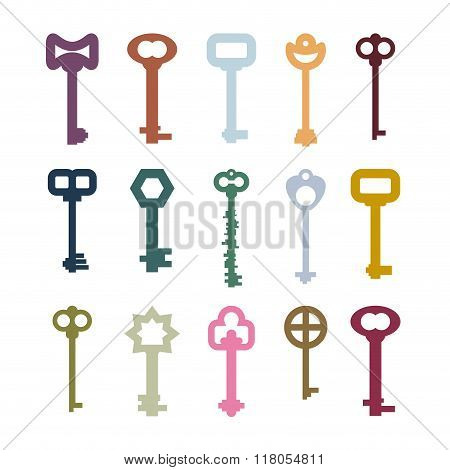 Old Vintage Keys Set. Color Clues From Ancient Castles. Door Vintage Key Collection