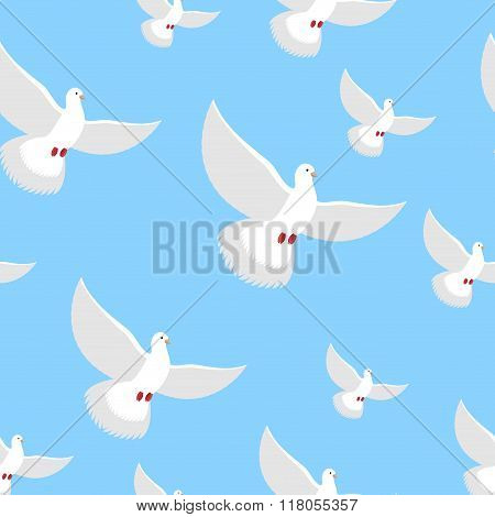 White Dove Blue Sky Seamless Pattern. Flying In Air White Beautiful Bird. An Endless Flock Of Pigeon