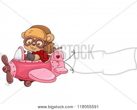 Illustration of a Female Bear Stuffed Toy while Riding an Airplane with a Banner