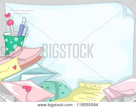 Background Illustration Featuring a Pile of Love Letters