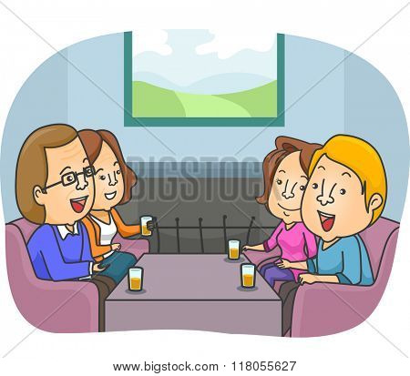 Illustration of a Couple Meeting Up with Their Parents