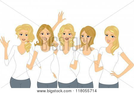 Illustration of a Set of Lovely Blonde Girls Wearing White Shirt
