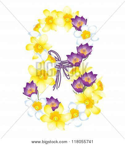 Greeting Card With March 8, Flowers Daffodils And Crocuses