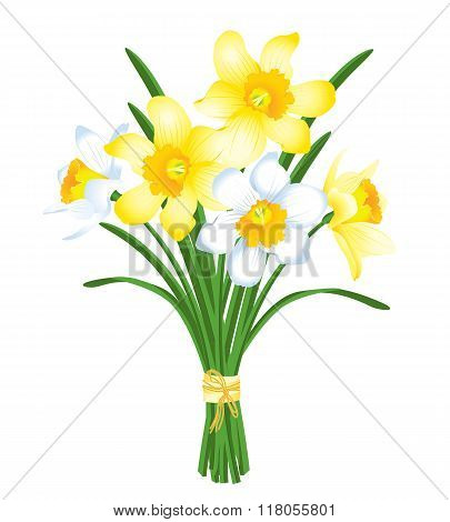 Spring Bouquet Of Yellow And White Daffodils