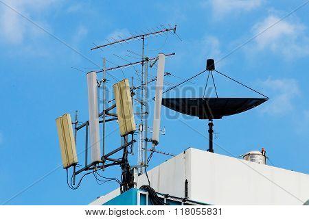 Satellite dish on building in blue sky