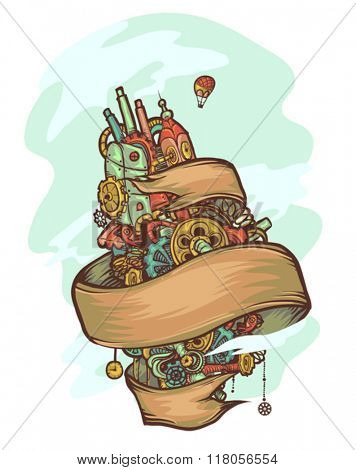 Illustration of an Imaginative Steampunk Doodle Floating Island Ribbon