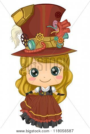 Illustration of a Kid Girl Wearing Cute Steampunk Garments