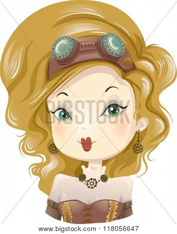 Illustration of a Girl Wearing a Steampunk Costume