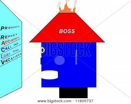 Hot Headed Boss Cartoon Character