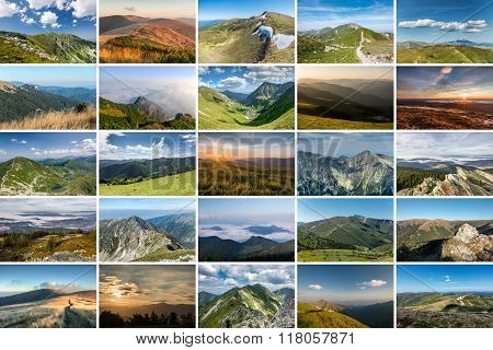 Collage Of Nature Photos On Theme Of Mountains