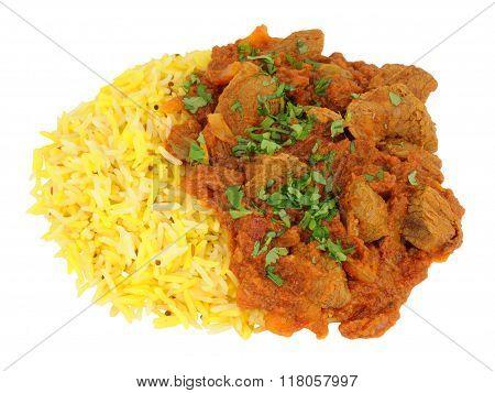 Lamb Rogan Josh Curry With Rice