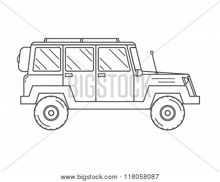 Suv Truck Outline And Thin Line Icon