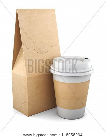 Blank Kraft Bag And Plastic Cup On White Background. 3D Renderin