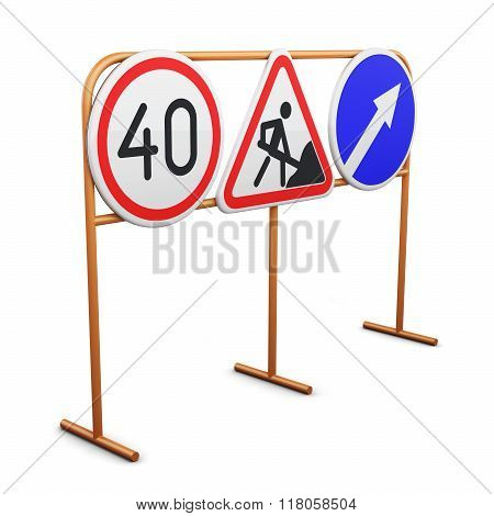 Stand With Traffic Signs Isolated On White Background. 3D Render