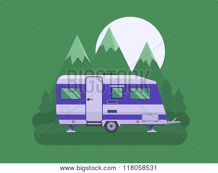 Camper Trailer On National Mountain Park Area