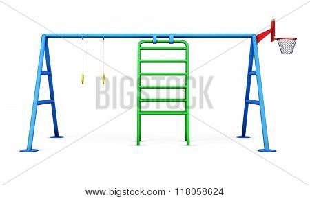Children Playground Isolated On White Background. 3D Rendering