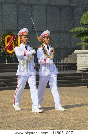 The honor guard at the mausoleum of Ho Chi Minh. Hanoi, Vietnam