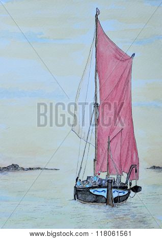 Ink and Watercolur painting of a Spritsail barge in full sail.