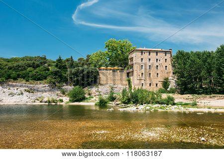 Old House Near Ancient Roman aqueduct of Pont du Gard, Nimes, France