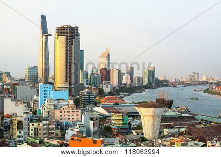 SAIGON, VIETNAM - CIRCA JAN, 2016: Top view of Ho Chi Minh City. Ho Chi Minh, former Saigon, is located in the South of Vietnam, is the country's largest city, population 8 million.