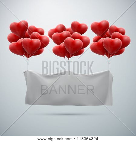 white textile banner with heart balloons