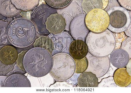 Close Up Of Hong Kong, China Coins